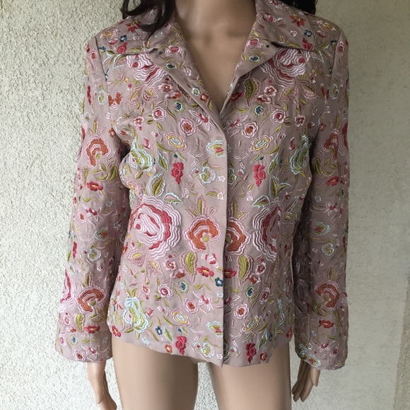 3c8567b5f Johnny Was Biya Silk Embroidered Floral Blazer M